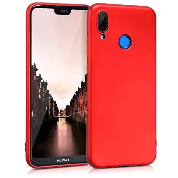 super popular 0b5f6 07f62 kwmobile TPU Silicone Case for Huawei P20 Lite - Soft Flexible Shock  Absorbent Protective Phone Cover - Metallic Dark Red