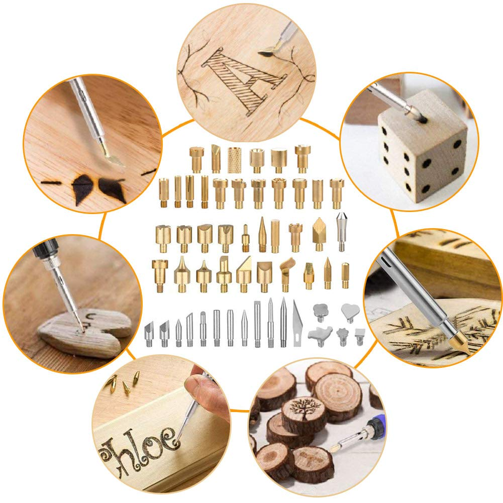 Wood Burning Kit,65 Pcs Professional Soldering Iron Tips and DIY Drawing Template Carving Engraving Craft Tools for Woodworking