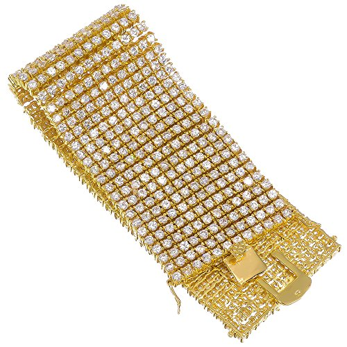 8.5 Inch 12-Row 14k Gold Plated Iced Out Hip Hop Bracelet with White Cubic Zirconia CZs + Bonus Polishing Cloth by The Bling Factory
