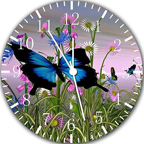 Beautiful Butterfly Flowers Frameless Borderless Wall Clock Y98 Nice For Gift or Room Wall Decor