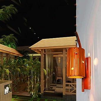 Lampara de noche Lámpara de pared de bambú natural hecha a mano Restaurante/Dormitorio/Estudio/Pasillo/Patio/Café/Té/Restaurante occidental Lámpara de hierro forjado Luz de la pared al a: Amazon.es: Iluminación