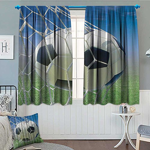 Sports Blackout Window Curtain Soccer Goal Net Football Games Photo Design Field Grass Sky Ball for Teens and Kids Customized Curtains 52