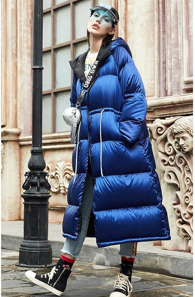 A-gavvzq Automne et Hiver 90% Duvet de Canard Blanc dans la Longue Veste Chaude de Style Veste pour Garder au Chaud Blue