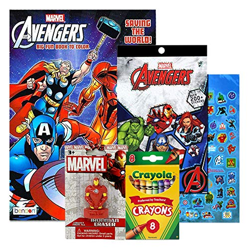 Marvel Avengers Fun Coloring Activity Book with Over 200 Stickers, Crayons, and Figural Eraser (Iron Man)