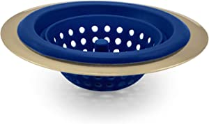 COOK with COLOR Gold Kitchen Sink Strainer with Silicone Durable Drain Basket, Large Wide Drainer with 4.5' Diameter Rim, Traps Food Debris and Prevents Clogs (Blue)