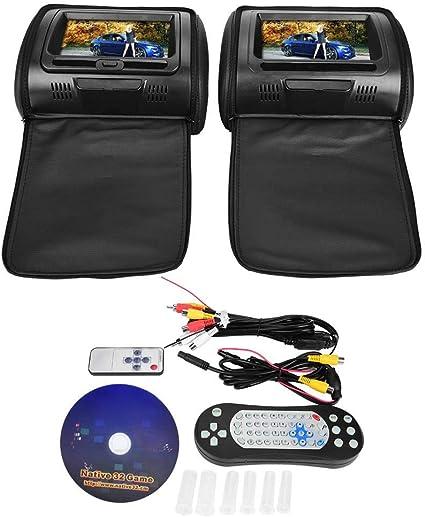 EBTOOLS Universal Par de DVD del Reposacabezas del Coche, Radio MP3 para Coche, Monitor de Reproductor de Video de 7