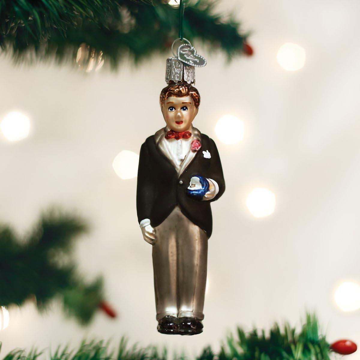 Braut und Br/äutigam Old World Christbaumschmuck Glas geblasene Ornamente f/ür Weihnachtsbaum Bridal Couple Standard Multi