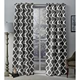 Exclusive Home Durango Geometric Printed Woven Sateen Window Curtain Panel Pair with Grommet Top, 52×96, Black Pearl, 2 Piece For Sale