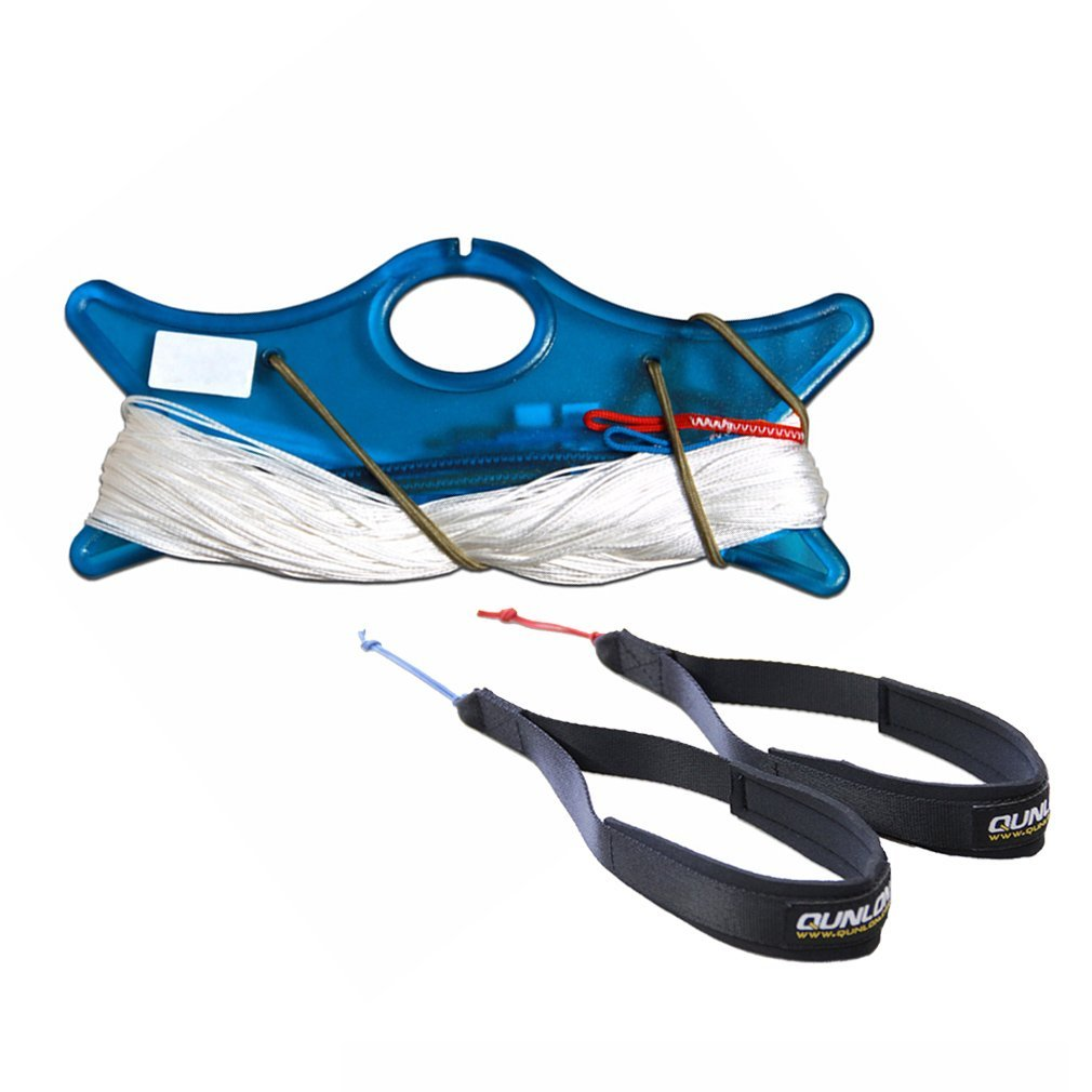 Qunlon 220lb Dyneema Line Set with Wrist Strap of Durable Nylon Webbing Control System for Dual-Line Traction Power Kite