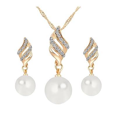 Ensembles de bijoux - TOOGOO(R)Classiques Bijoux plaque Or Platine bijoux  de Perles 6be90ad93d1