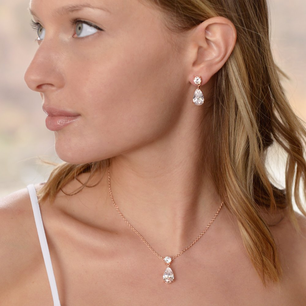 Mariell 14K Rose Gold Plated CZ Teardrop Bridal Necklace and Earring Set for Weddings, Bridesmaids & Prom by Mariell (Image #4)