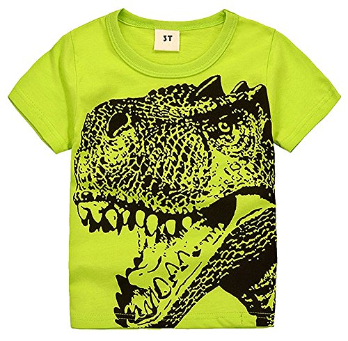 - 2Bunnies Little Boys Toddler Dinosaur T Rex Short Sleeve Tee T Shirt (2T, Green)