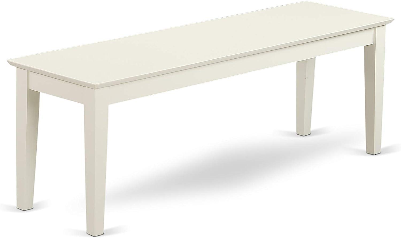 East West Furniture Capri bench, Linen White