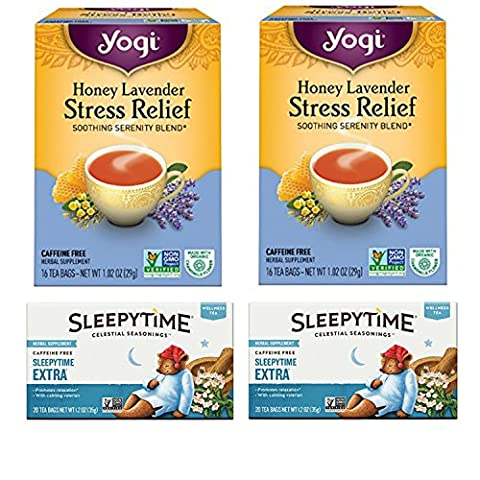 Yogi Honey Lavender Tea and Celestial Sleepytime Extra Tea. Convenient One-Stop Shopping For These Tension Tamer Teas. Easy to Source for Hard to Find Products. How to Calm Your Nerves (Yogi Tea Assortment)