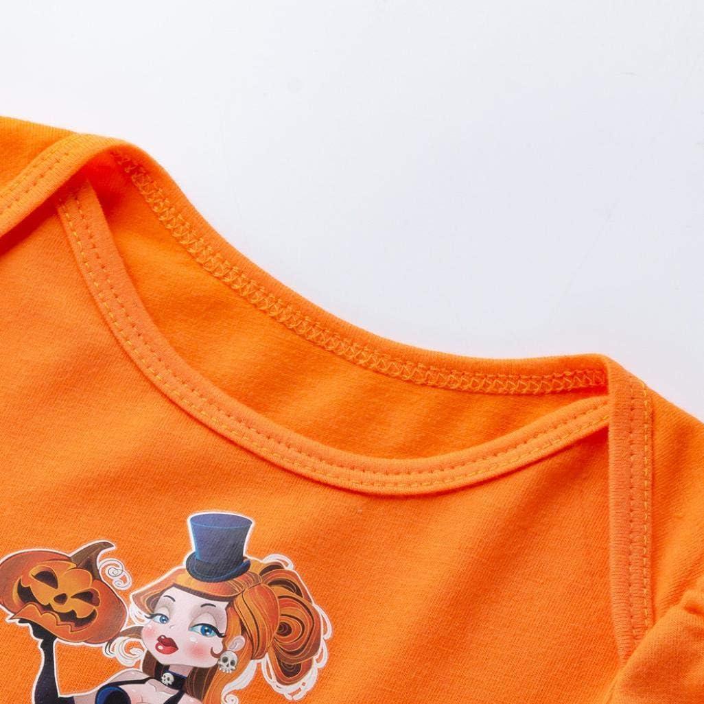 KONFA Toddler Newborn Baby Girls Pumpkin Dress Romper with Headband,Little Princess Halloween Skirt Costumes Sets