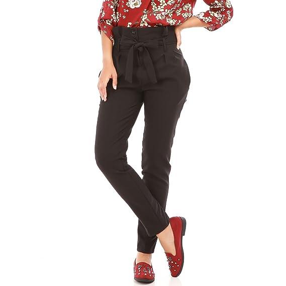 0a6483f1a7ccf La Modeuse - Pantalon Cigarette Femme Taille Haute: Amazon.fr: Vêtements et  accessoires