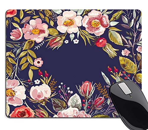 Wknoon Gaming Mouse Pad Custom,Mouse Pad Unique Custom Printed Mousepad Vintage Hand Drawn Floral Wreath Non-Slip Rubber - Pad Printed Mouse Custom