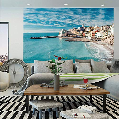 SoSung Farm House Decor Huge Photo Wall Mural,Panorama of Old Italian Fish Village Beach Old Province Coastal Charm Image,Self-Adhesive Large Wallpaper for Home Decor 108x152 inches,Turquoise