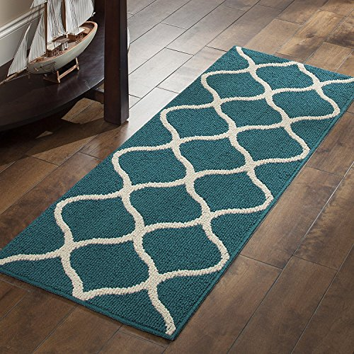 Maples Rugs Rebecca [3pc Set] Non Kid Accent Throw Rugs Runner [Made in USA] for Entryway and Bedroom, Teal/Sand (Mat Kitchen Teal)