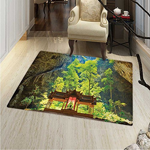Natural Cave Anti-Skid Area Rug Latent Pavilion in Between the Cliffs Discovery of Faith in the Nature Picture Soft Area Rugs 48''x60'' Multicolor by Anhounine