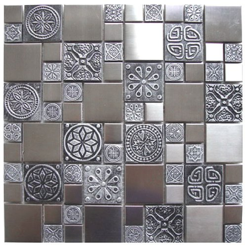 Roman Pattern Stainless Steel And Pewter Accents Metal Tile - Kitchen Backsplash / Bathroom Wall / Home Decor / Fireplace (Pewter Wall Tiles)