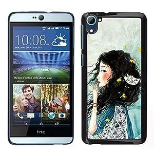 LECELL--Funda protectora / Cubierta / Piel For HTC Desire D826 -- Señora Woman profundo azul triste --