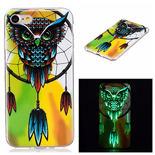 Sunvy iPhone 7 Case Night Luminous Case Luxury Owl Dreamcather Pattern TPU Rubber Silicone Gel Cover For 4.7 inch Iphone 7 with a Screen Protector - Color Guard Costumes Creative Costume Designs