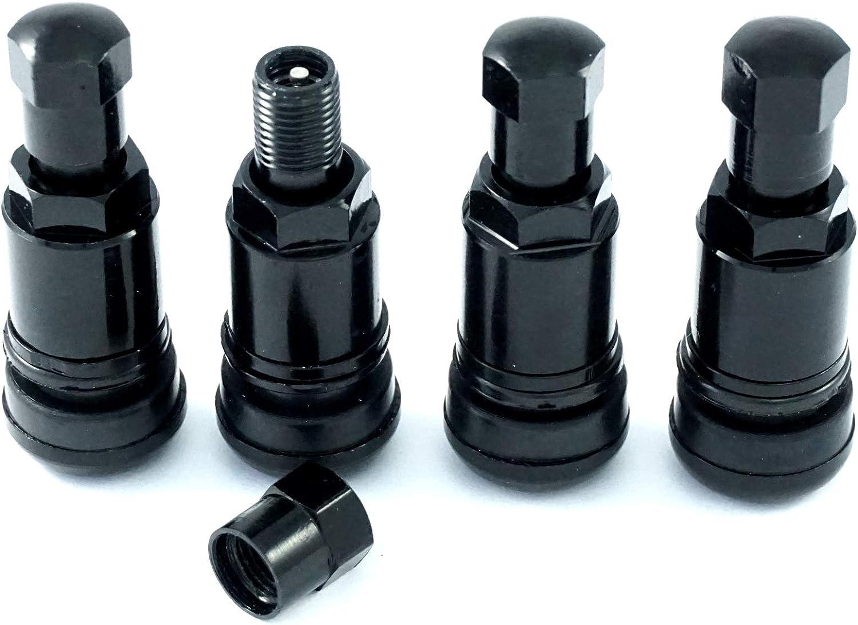 N/A 4 válvulas de aluminio de 11,3 mm, válvulas de llanta, válvulas de metal, color negro