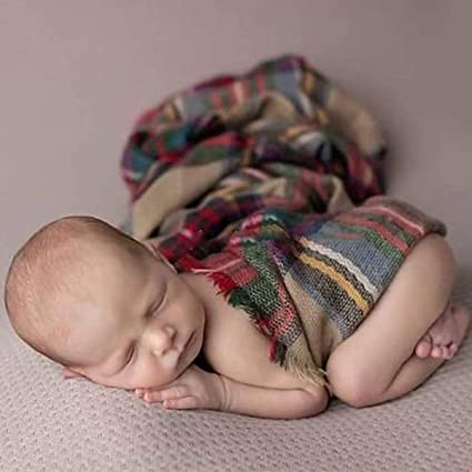 Baby Wrap+Hat for Newborn Baby DERCLIVE Photography Suit Soft Christmas Photography Prop Set Plaid Blanket