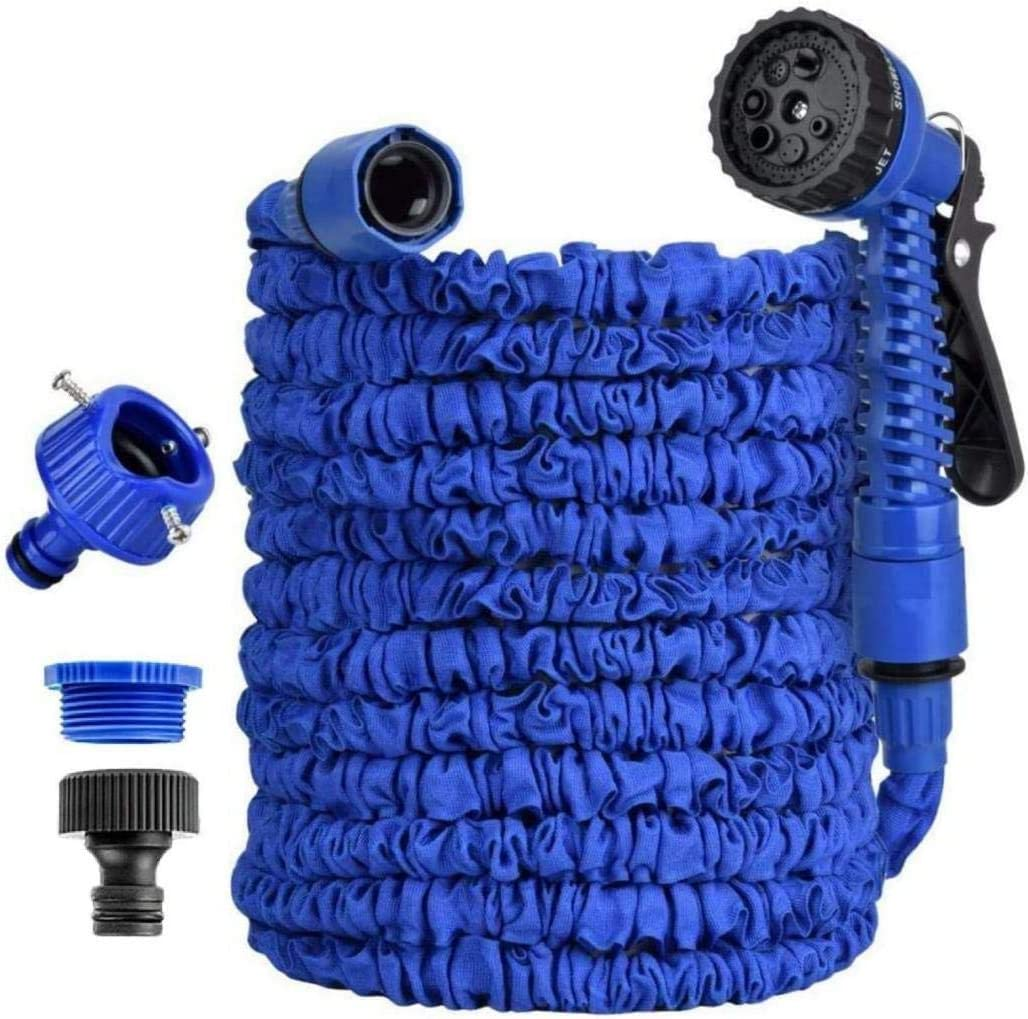 Expandable Garden Water Hose Pipe - 50FT Magic Expanding Hose, 7 Function Spray Gun Nozzle Wall Holde for watering plants & Garden Showers(50 FT, Blue)