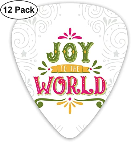 Guitar Picks 12-Pack,Joy To World Lettering With Geometrical Lines ...