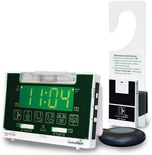 Serene Innovations Centralalert Notification System Ca360h Vibrating Alarm Clock receiver with Hanging Door Knock Sensor for Deaf or Hearing Loss Impaired Disabled