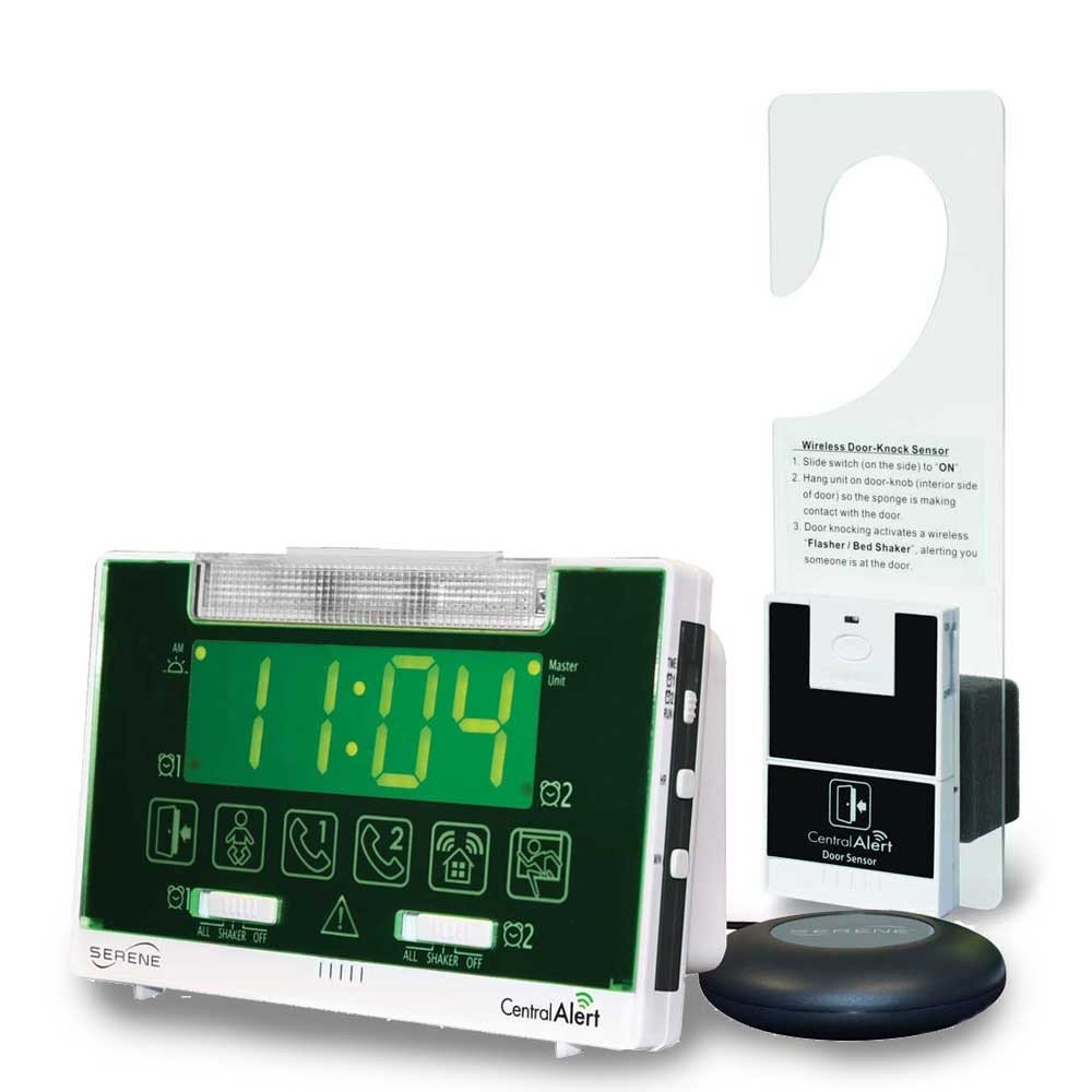 Serene Innovations Centralalert Notification System Ca360h Vibrating Alarm Clock/receiver with Hanging Door Knock Sensor for Deaf or Hearing Loss Impaired Disabled by Serene Innovations