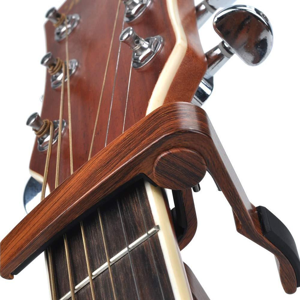 Guitar Capo, Accesorios Guitarra Acústica, Rosewood Aluminio Metal Universal Capo Guitarra para Guitarra Acústica 6 Cuerdas, Guitarra Eléctrica, ...