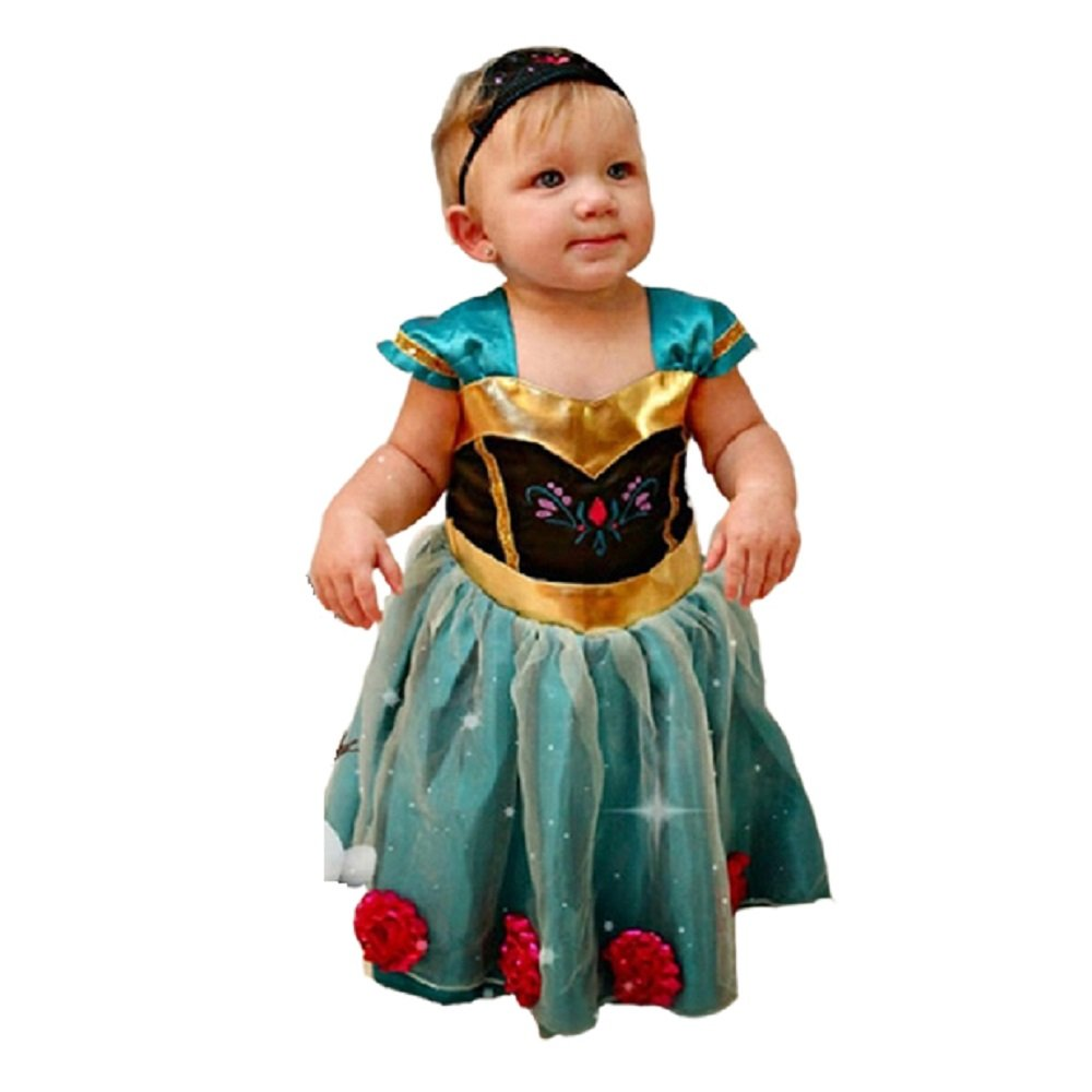 Baby Girl Toddler Anna Coronation Dress Halloween Costume Size 9m-4T USA Daily Proposal