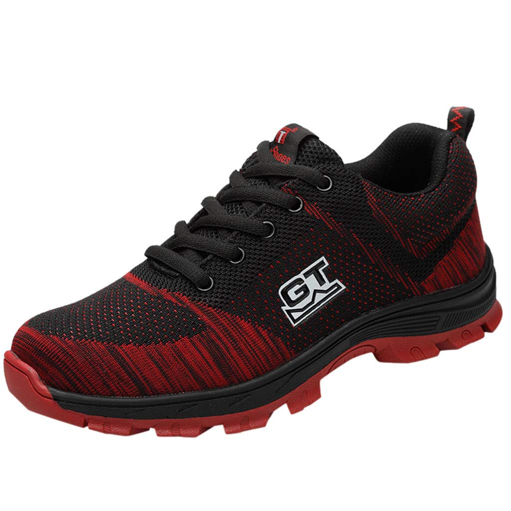 F_Gotal Mens Shoes Casual Mesh Lace Up Breathable Light Athletic Shoes Fashion Safety Work Shoes Outdoor Sport Sneakers Red by F_Gotal Shoes