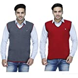 """Super weston Sleeveless Sweaters for Men,100% Wool Sweaters,Casual Use Sweaters,Colour and Size Choose According 6 Colour Available M=38"""",L=40"""",XL=42""""(Pack of 2)"""