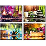 "Zen Canvas Wall Art, Spa Treatment Picture with Bamboo Stone Paintings (Waterproof, Hook Mounted, 1"" Thick)"