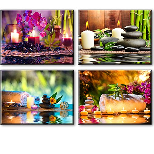 Zen Canvas Wall Art, Spa Treatment Picture with Bamboo Stone Paintings (Waterproof, Hook Mounted, 1\
