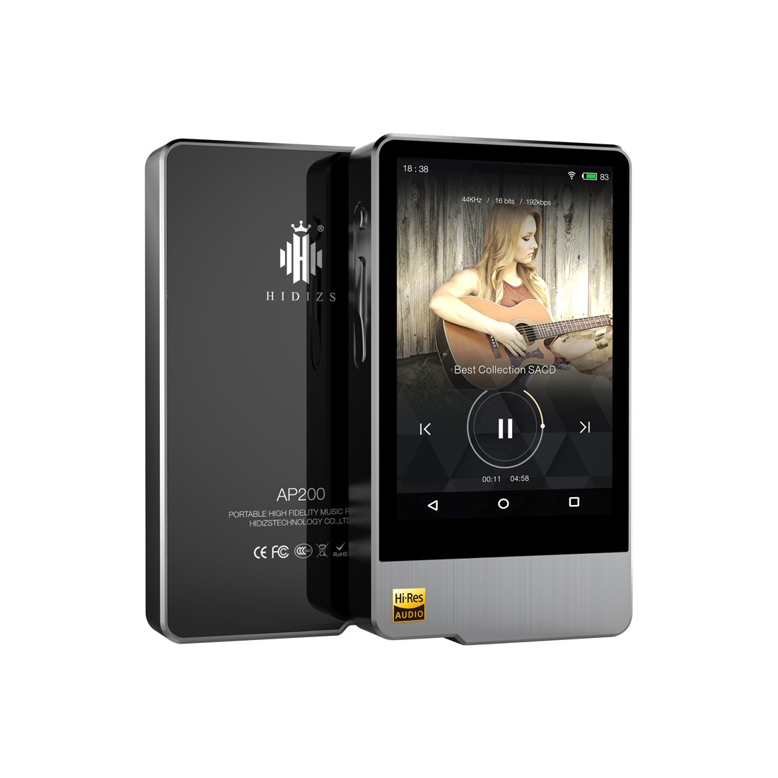 HIDIZS AP200 Hi-Res Certified WiFi Bluetooth MP3 Player High Resolution  Digital Audio Player Portable Wireless Smart Touch Music Player for Android