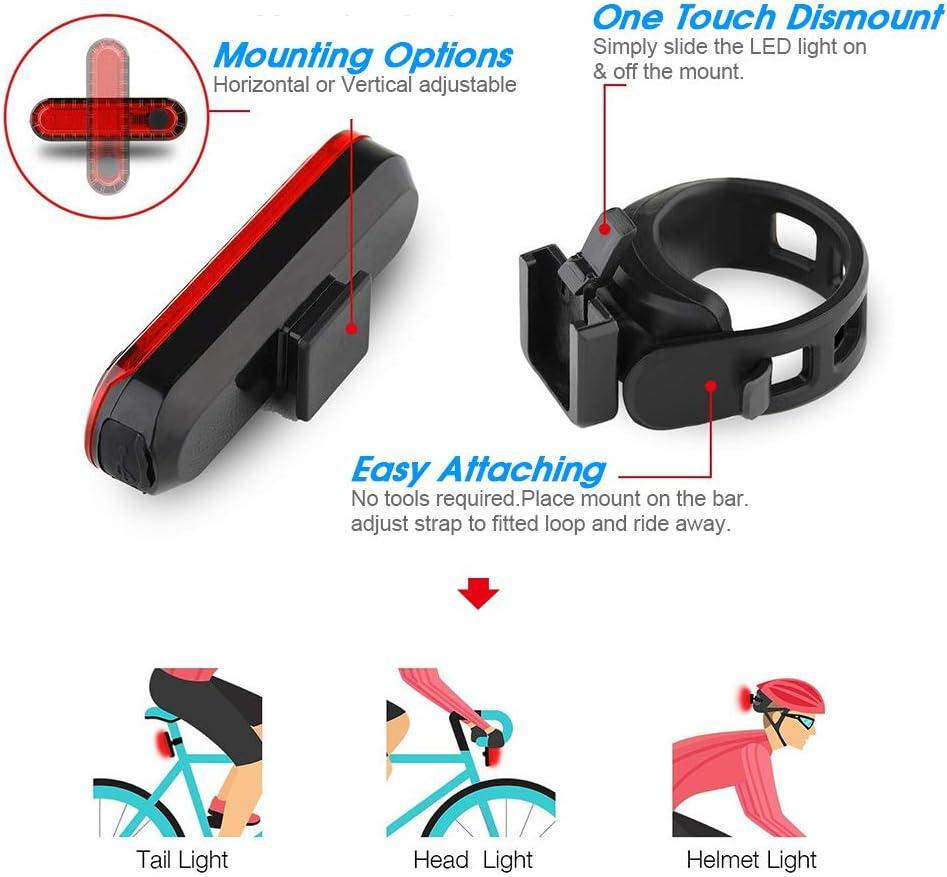 Resistente all Acqua Luce Posteriore Adatto per Biciclette e Caschi per Ottimale Ciclismo Sicurezza USB Ricaricabile per Bicicletta LED Bicicletta Fanale Posteriore Bici di Luce