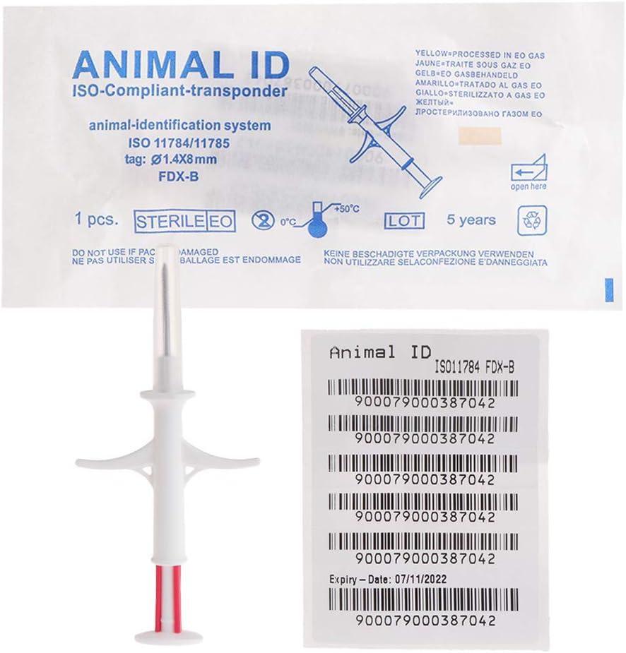Biniwa – 1 pieza de micro chip de identificación para mascota, 1,4 x 8 mm, para perros y gatos, identificación de animales, ISO11784/5 FDX-B HDX, inyector de etiqueta de animal IP67