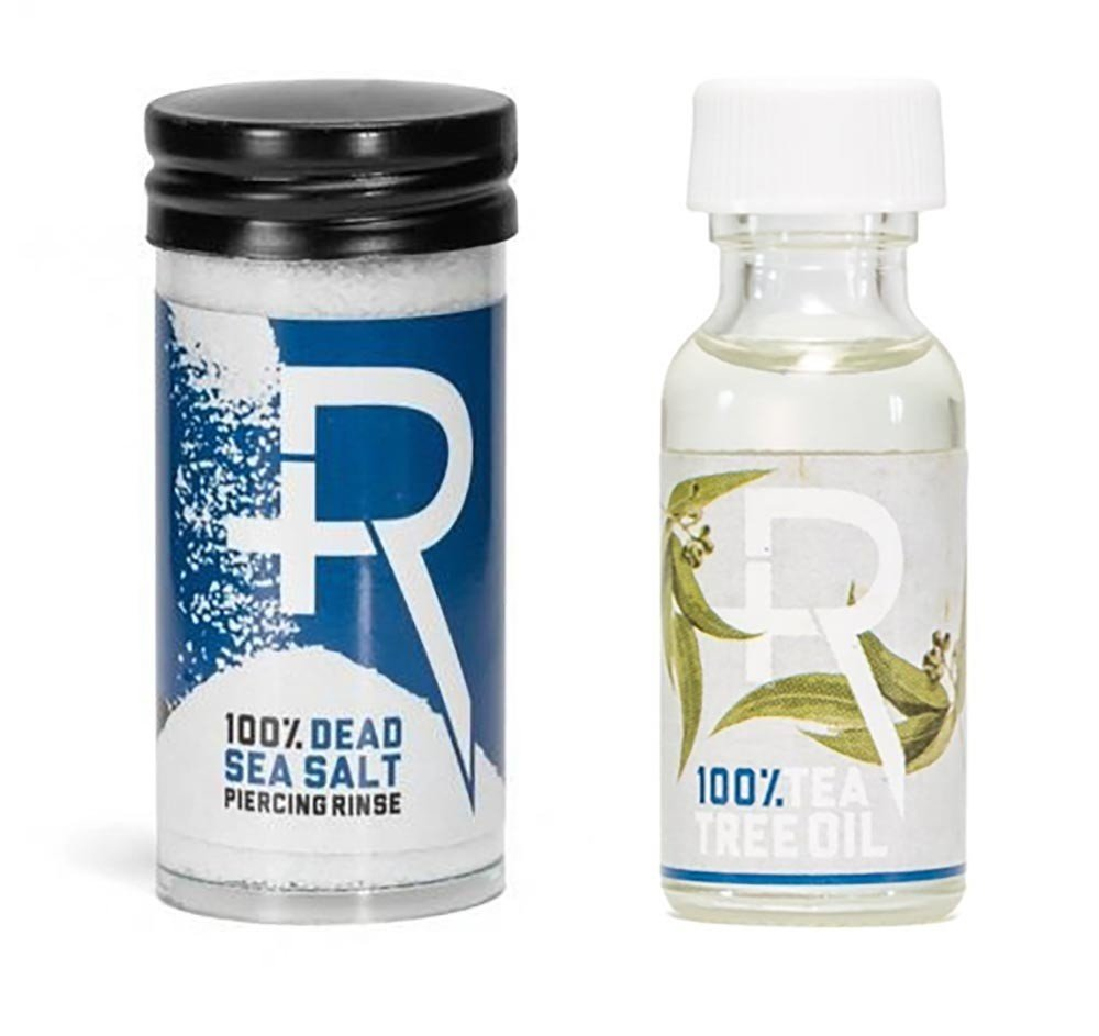 Recovery Piercing Aftercare Sea Salt and Tea Tree Oil Combo - All Natural, Soothing Healing Saline Solution by Recovery