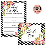 Bridal Shower Invitations ( 100 ) & Thank You Cards ( 100 ) Matching Set Envelopes Included, Miss to Mrs Large Celebration Bride's Wedding Party Write-in Invites & Folded Thank You Notes, Best Value