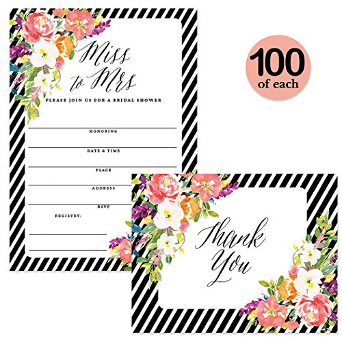 Bridal Shower Invitations ( 100 ) & Thank You Cards ( 100 ) Matching Set Envelopes Included, Miss to Mrs Large Celebration Bride's Wedding Party Write-in Invites & Folded Thank You Notes, Best Value by Digibuddha