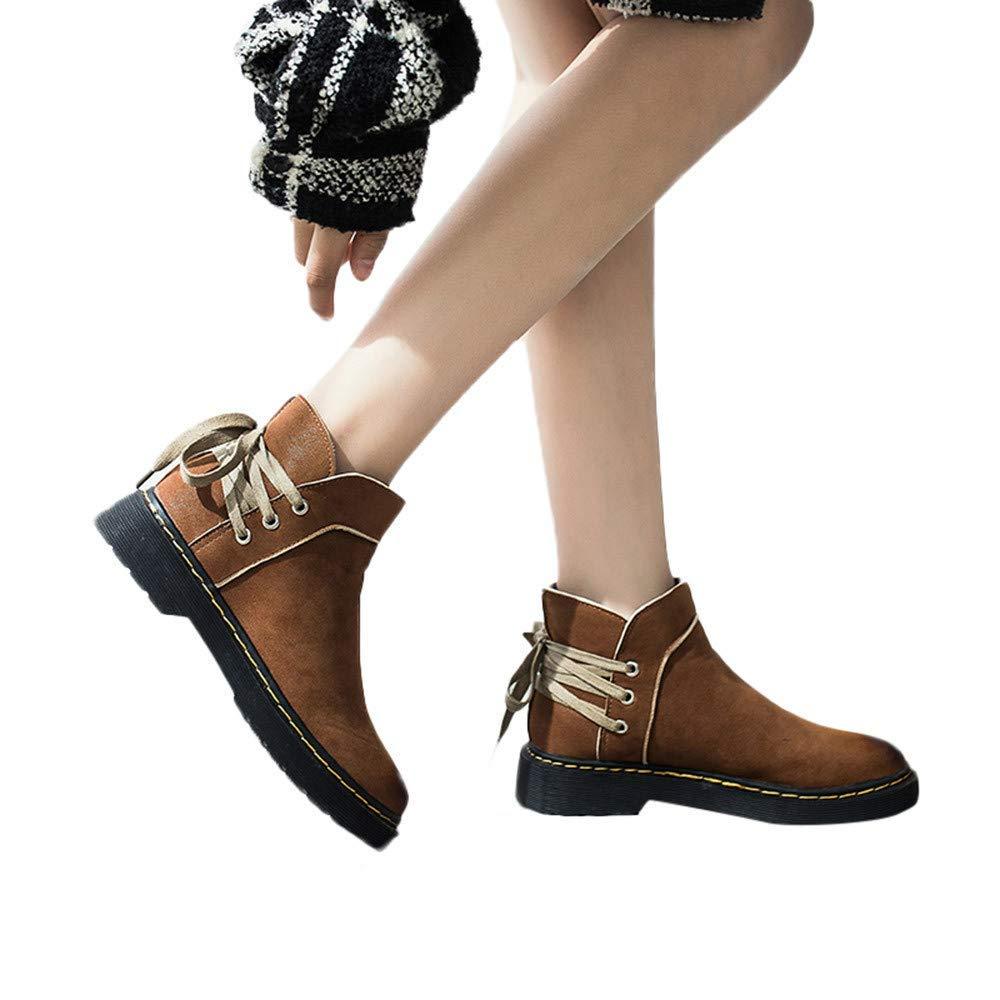 ZHRUI Damas de piel sintética Grip Sole Invierno cálido tobillo Botas para mujer Zapatillas de deporte, Zapatos retro de tacón bajo para mujeres Punta ...