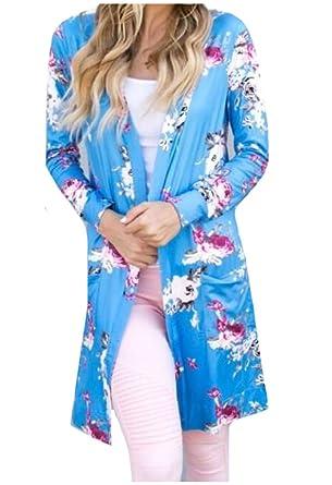 MirrorWomen Mirror Women Kimono Casual Long Sleeve Tops Print Shirts Open  Front Blouses Light Blue S 37885ce4f