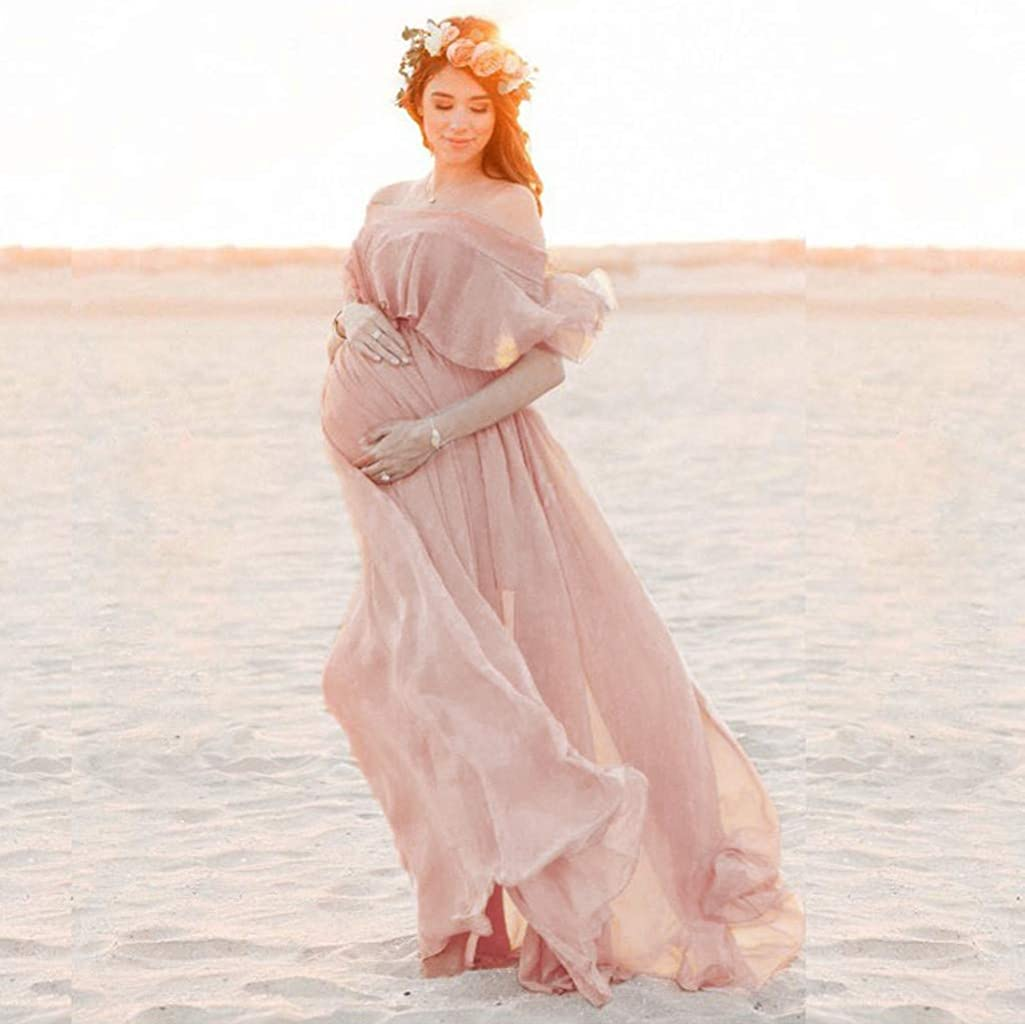 Women Off Shoulder Maternity Dress Baby Shower Maxi Gown Photography Dress for Photo Shoot