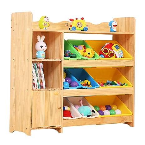 Muebles Estantería de madera de juguete para niños Estante ...