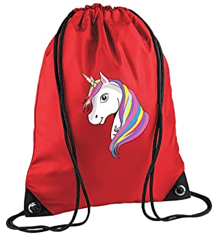 171d8a91df laylawson Unicorn Drawstring Gym Bag Girls Kids (One Size
